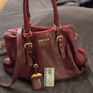Authentic Prada Red 2 way Leather Bag Vintage